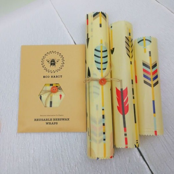beeswax food wraps set of 3 arrows
