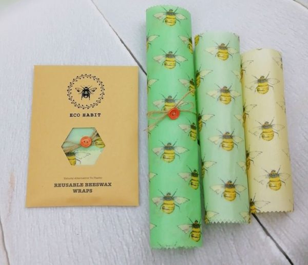bees in set of 3 beeswax foodwraps