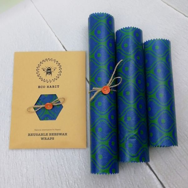 blue-green set of 3 beeswax wraps