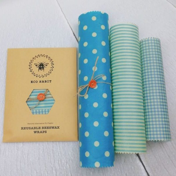 blue selection beeswax food wraps set of 3