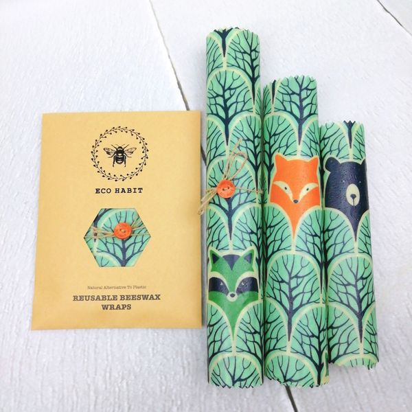 set of 3 forest design beeswax food wraps