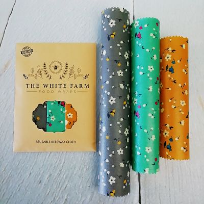 flowery beeswax food wrap set of 3
