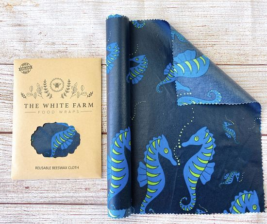 Beeswax food wraps in seahorse print